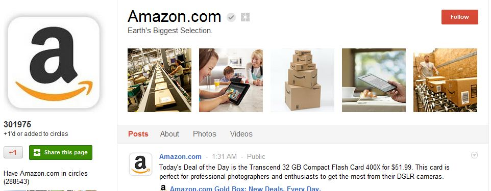 Amazon Google Plus Page