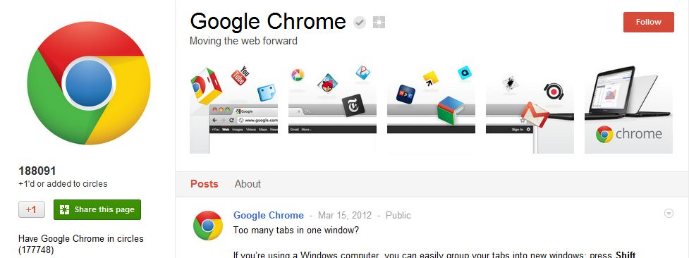 Chrome Google Plus Page