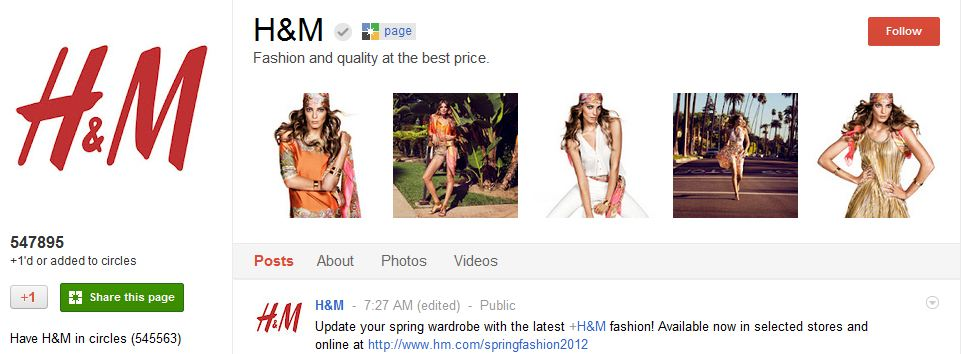 H&M Google Plus Page