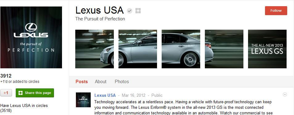 Lexus Google Plus Page