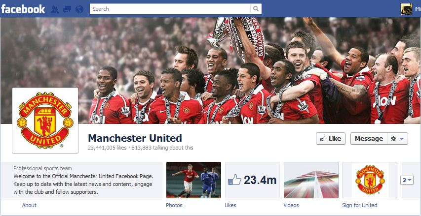 Man Utd Facebook Brand Timeline