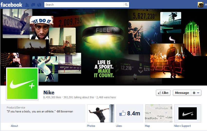 Nike Facebook Brand Timeline