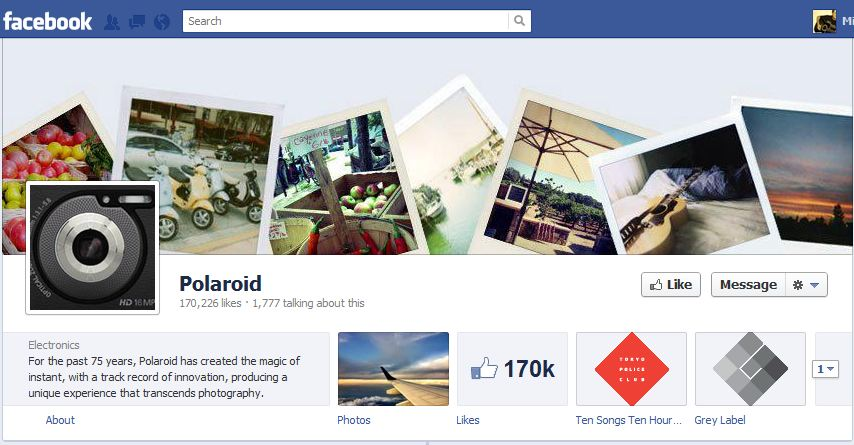 Polaroid Facebook Brand Timeline