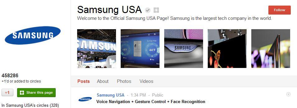 Samsung Google Plus Page
