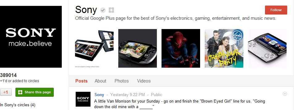 Sony Google Plus Page