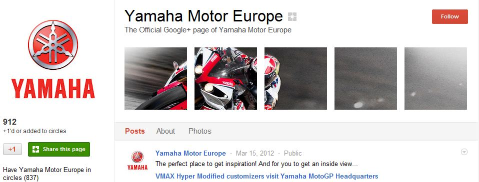 Yamaha Google Plus Page